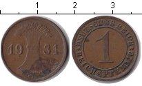 Изображение Монеты Веймарская республика 1 пфенниг 1931 Медь