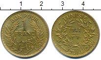Изображение Монеты Тунис 1 франк 1941 Медь XF