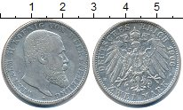 Изображение Монеты Вюртемберг 2 марки 1906 Серебро XF Вильгельм II