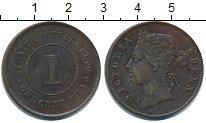 Изображение Монеты Стрейтс-Сеттльмент 1 цент 1884 Медь XF