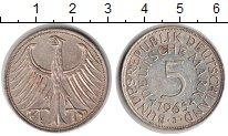 Изображение Монеты ФРГ 5 марок 1965 Серебро XF