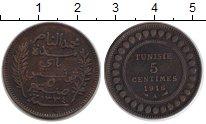 Изображение Монеты Тунис 5 сантимов 1916 Медь