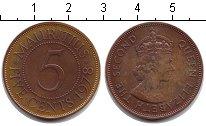 Изображение Монеты Маврикий 5 центов 1978 Медь XF