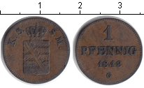 Изображение Монеты Саксен-Майнинген 1 пфенниг 1843 Медь