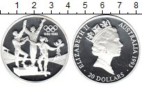 Изображение Монеты Австралия 20 долларов 1993 Серебро Proof- 100-летие Олимпийски