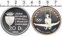 Изображение Монеты Андорра 20 динерс 1992 Серебро Proof-
