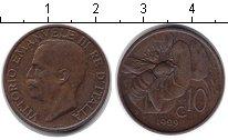 Изображение Монеты Италия 10 сентесим 1929 Медь XF Витторио Имануил III