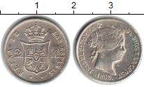 Изображение Монеты Испания 2 реала 1863 Серебро XF