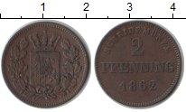 Изображение Монеты Бавария 2 пфеннига 1862 Медь XF