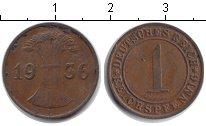 Изображение Монеты Веймарская республика 1 пфенниг 1936 Медь
