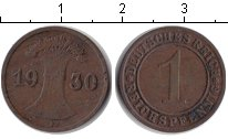 Изображение Монеты Веймарская республика 1 пфенниг 1930 Медь VF F