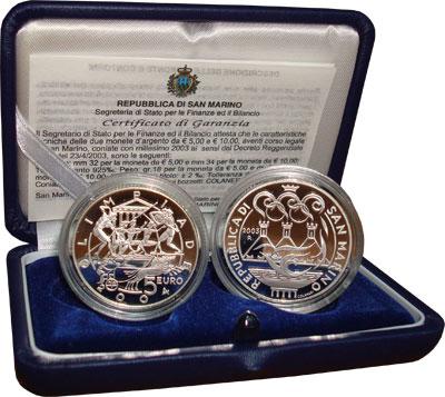 Изображение Подарочные наборы Сан-Марино Олимпийские игры в Афинах 2004 года 2003 Серебро Proof Набор состоит из дву