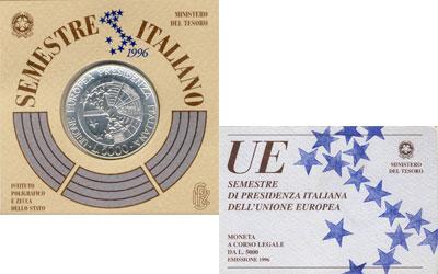 Изображение Подарочные монеты Италия 5.000 лир 1996 Серебро UNC- Монета посвящена пре