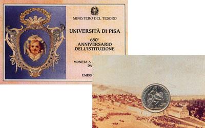 Изображение Подарочные монеты Италия Университет Пизы 1993 Серебро UNC- Набор посвящен одном