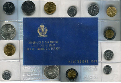 Изображение Подарочные монеты Сан-Марино Регулярный выпуск 1989 года 1989