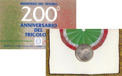 Изображение Подарочные монеты Италия 200-летие государственного флага 1997  UNC Итальянский триколор