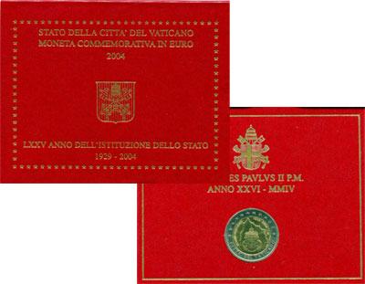Изображение Подарочные монеты Ватикан 75-летие основания города-государства Ватикан 2004  UNC Памятная монета, пос