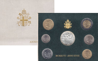 Изображение Подарочные монеты Ватикан Выпуск 1996 года 1996  UNC- Регулярный выпуск 19