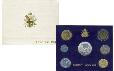 Изображение Подарочные монеты Ватикан Выпуск 1994 года 1994  UNC Регулярный выпуск 19