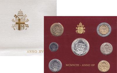 Изображение Подарочные монеты Ватикан Выпуск 1993 года 1993   Регулярный выпуск 19