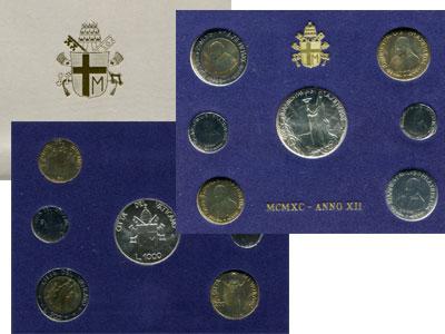 Изображение Подарочные монеты Ватикан Выпуск 1990 года 1990  UNC Регулярный выпуск 19