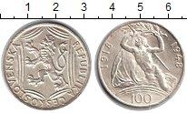 Изображение Мелочь Чехословакия 100 крон 1948 Серебро UNC-