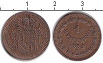 Изображение Монеты Ватикан 1 кватрино 1854 Медь XF
