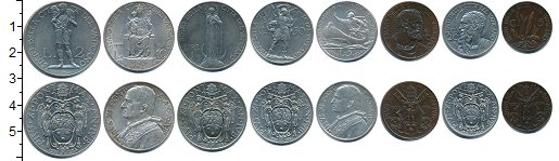 Изображение Наборы монет Ватикан Ватикан 1934 г, 1934  XF В наборе 8 монет ном