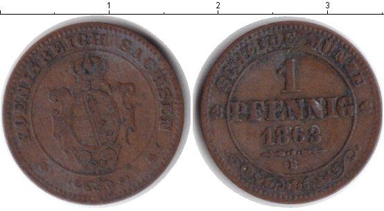 Картинка Монеты Саксония 1 пфенниг Медь 1865