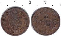 Изображение Монеты Саксония 2 пфеннига 1862 Медь VF В
