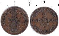 Изображение Монеты Саксония 2 пфеннига 1869 Медь VF
