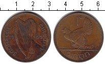 Изображение Монеты Ирландия 1 пенни 1935 Медь XF Курица с цыплятами.
