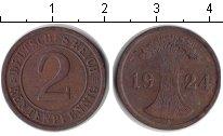 Изображение Монеты Веймарская республика 2 пфеннига 1924 Медь XF