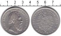 Изображение Монеты Вюртемберг 5 марок 1876 Серебро XF Карл