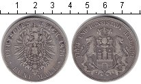Изображение Монеты Гамбург 5 марок 1876 Серебро XF