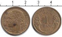 Изображение Монеты Франция Французская Африка 1 франк 1944 Медь XF