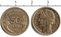 Изображение Монеты Франция Французская Африка 50 сантим 1944 Медь XF