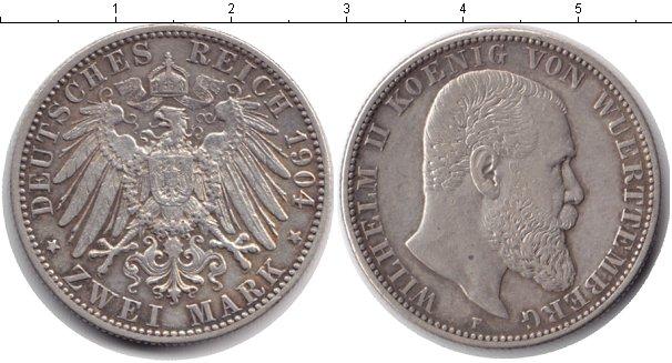 Изображение Монеты Вюртемберг 2 марки 1904 Серебро XF Вильгельм II
