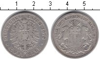 Изображение Монеты Гамбург 2 марки 1876 Серебро XF J