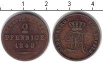 Изображение Монеты Германия Ольденбург 2 пфеннига 1848 Медь XF