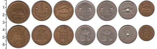Изображение Наборы монет Гренландия Гренландия 1926-1964 0  XF В наборе 7 монет ном