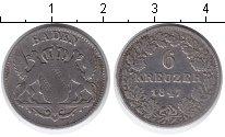 Изображение Монеты Германия Баден 6 крейцеров 1847 Серебро VF