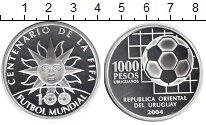 Изображение Монеты Уругвай 1000 песо 2004 Серебро Proof- Футбол