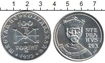 Изображение Монеты Венгрия 100 форинтов 1972 Серебро UNC- Король Стефан