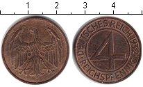 Изображение Монеты Веймарская республика 4 пфеннига 1932 Медь XF