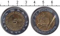 Изображение Монеты Швейцария 5 франков 2001 Биметалл UNC- Снеговик