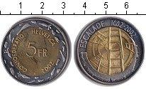 Изображение Монеты Швейцария 5 франков 2002 Биметалл UNC- лестницы