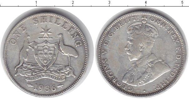 Картинка Монеты Австралия 1 шиллинг Серебро 1936