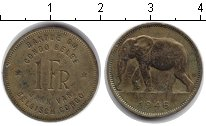 Изображение Монеты Бельгийское Конго 1 франк 1946 Медь XF Слон.