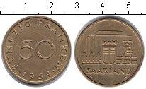 Изображение Монеты Саар 50 франков 1954 Медь XF Промышленный пейзаж.